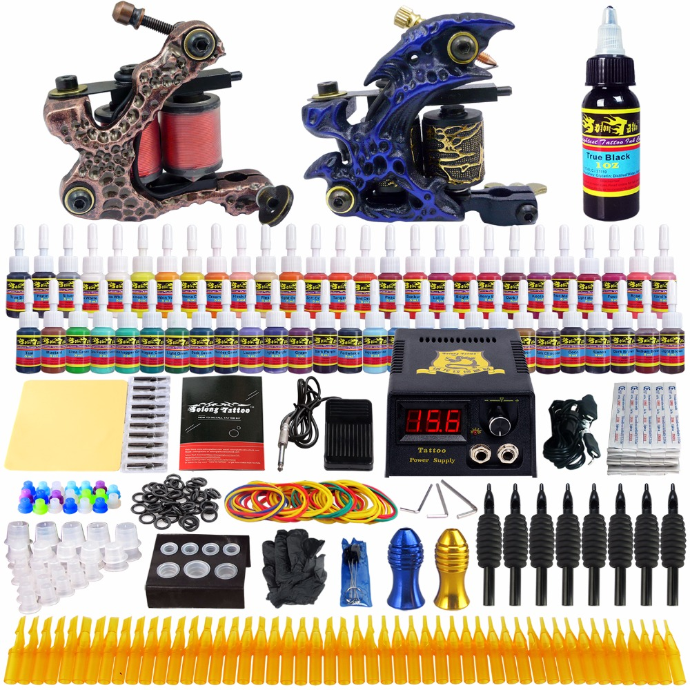 Solong Tattoo complete professional 2 tattoo Machine Guns set Tattoo Kit 54 Inks Power Supply Needle Grips power supply TKB01 europe god of darkness robert recommend gp self lock grips gp3 professional tattoo artist grip