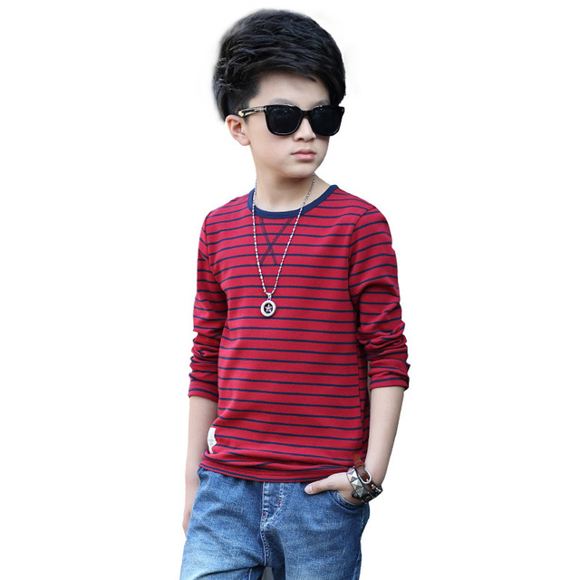 Kids T-Shirts For Boys Clothes Long Sleeve Striped Tees Children Clothing Spring Autumn Teenage Boys Tops 4 6 8 10 12 14 Years