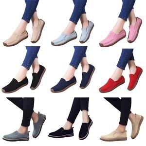 Image 3 - EOFK wiosna jesień kobiety mokasyny zamszowe mieszkania kwadratowe Toe wygodne buty wsuwane jesień Casual Apricot mokasyny Lady