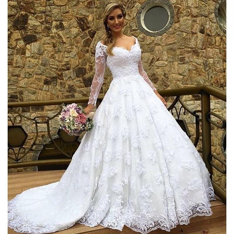 Brazil-Retail-Vestido-De-Noiva-Cap-Sleeve-Long-Sleeve-Robe-De-Mariage-Elegant-Lace-Wedding-Dress