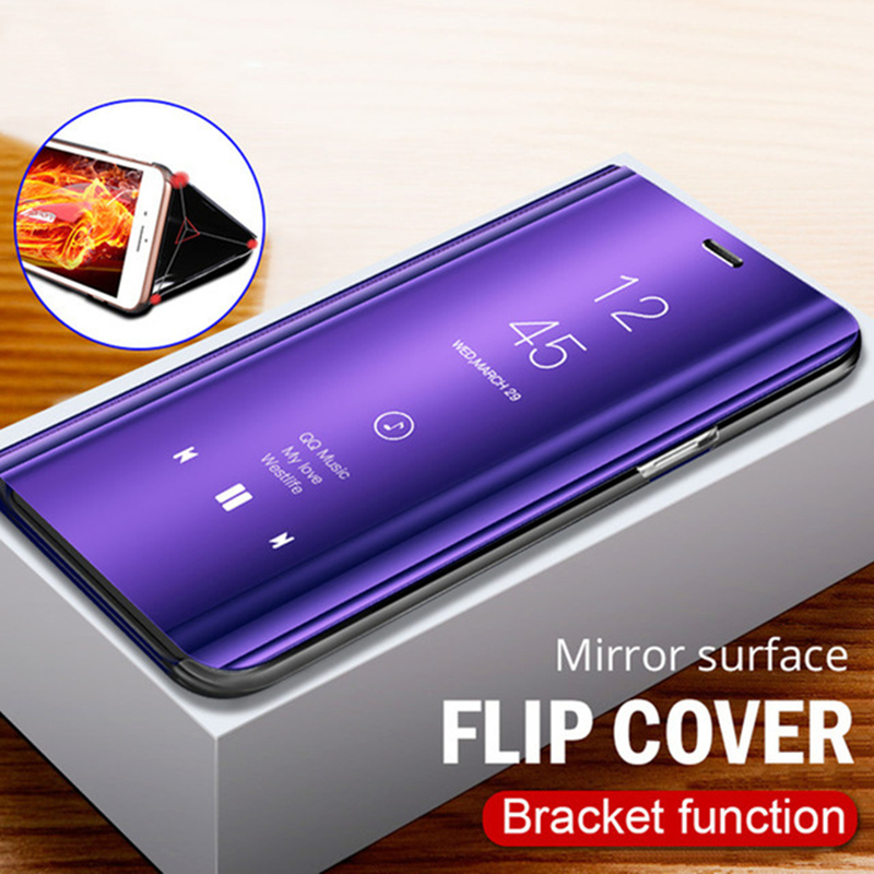 For OPPO Y91 Original Smart Mirror Fundas Stand Leather Hard Cover For OPPO Find X Luxury