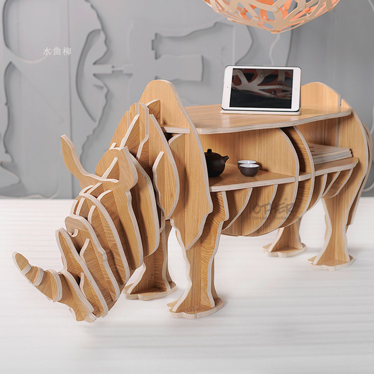 Factory wholesale European style Rhino wood coffee table desk craft gift desk self-build puzzle furniture free shipping