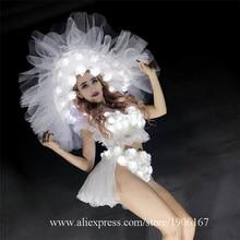 LED Для женщин Костюмы для бальных танцев костюм загораются Roese шляпа Костюмы вечерние платье LED Рождество производительность DJ певица одежда костюм для танцев