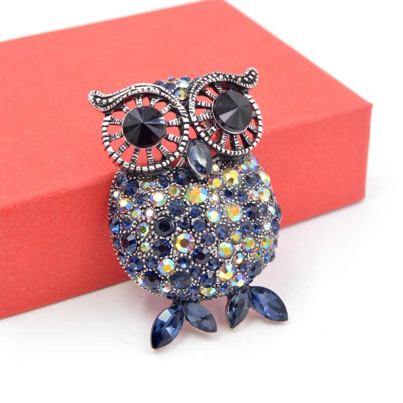 Cindy Xiang 2018 Perhiasan Bros untuk Wanita Halloween Biru Owl Pin untuk Pria Malam Pesta Leher Aksesoris Hewan Ornamen
