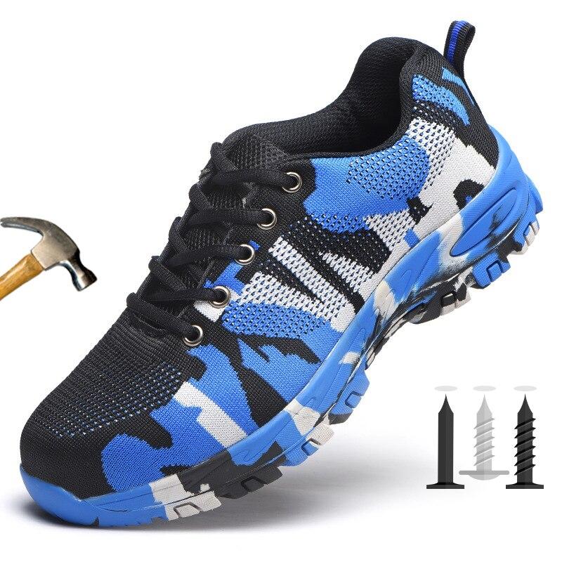 New Plus Size Unisex Homens Biqueira De Aço Sapatos de Segurança Respirável Anti-Slip Prova Punção Anti-esmagamento sapatos de Trabalho Ao Ar Livre botas de Camuflagem