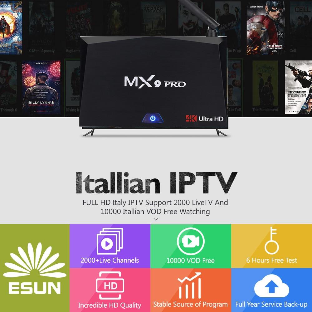 With 1 Year Mx9 Pro Italy Iptv Rk3328 2g/16g Italy Iptv Epg 4000+live+vod Configured Europe Albania Ex-yu Xxx Channels Box Consumer Electronics Home Audio & Video