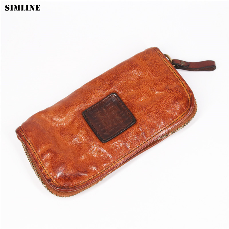 SIMLINE Luxury Genuine Leather Men Wallet Vintage Men's Long Zipper Vegetable Tanned Cowhide Clutch Bag Wallets Card Holder Male men clutch bag italian vegetable tanned leather long wallet luxury phone wallets wristlet male purse man clutch hand bag purses