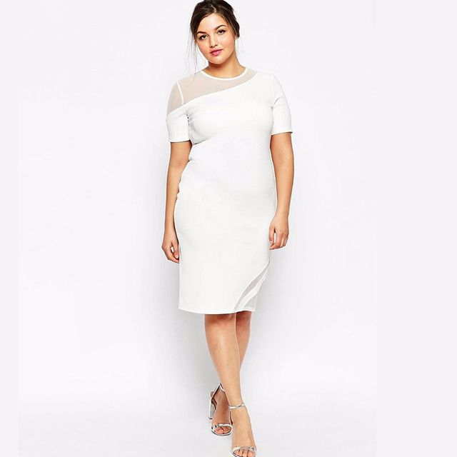 New Design Large Size Women 6XL 7XL Dress Full Figure Women Summer Fashion  Dress Oblique shoulder Short Sleeve White Vestidos b842f85f960a