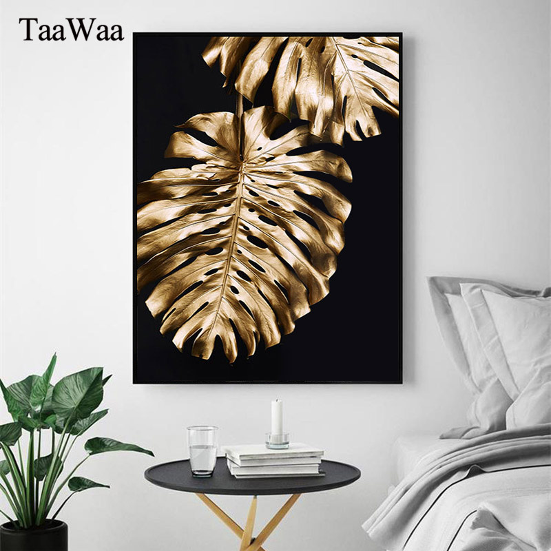 Modern Minimalist Golden Leaves Poster and Print Light Luxury Creative Canvas Art Nordic Wall Pictures Bedroom Home Decoration in Painting Calligraphy from Home Garden