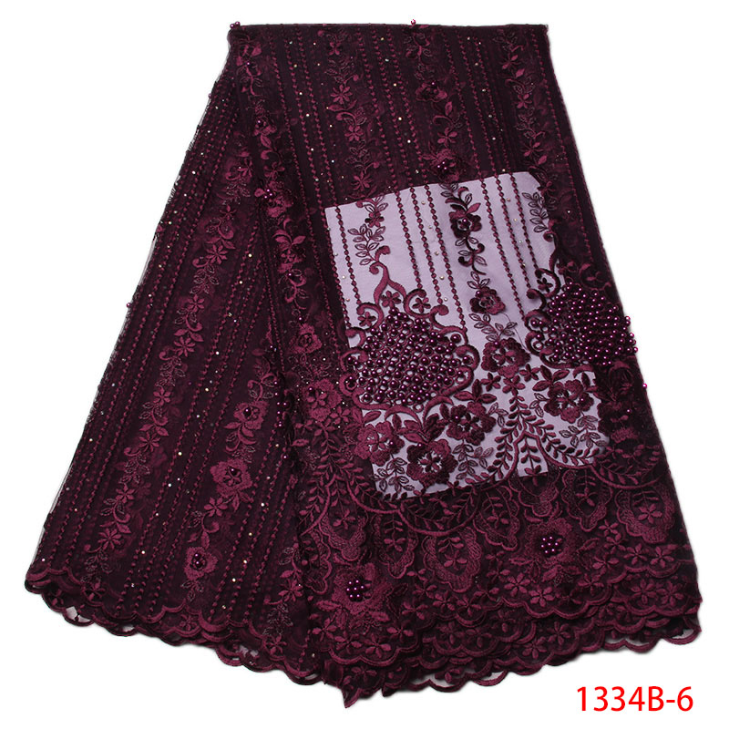 Wholesale 2018 Latest Beads African French Net Lace Fabric High Quality African Tulle Lace Fabric For