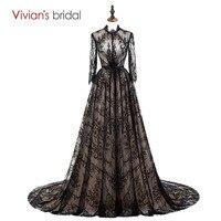 À Manches longues En Dentelle Robes De Soirée Noir Arabe Robe De Soirée Parti Longue Robe de Soirée De Mariée de Vivian 100% Vraie Image