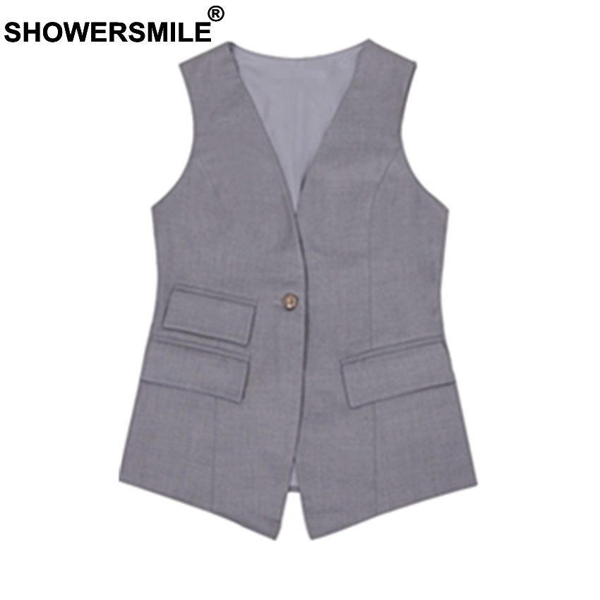 Showersmile رمادي البدلة الصدرية للنساء يتأهل صدرية مكتب سيدة أكمام سترة جيوب الصيف واحد زر السترة