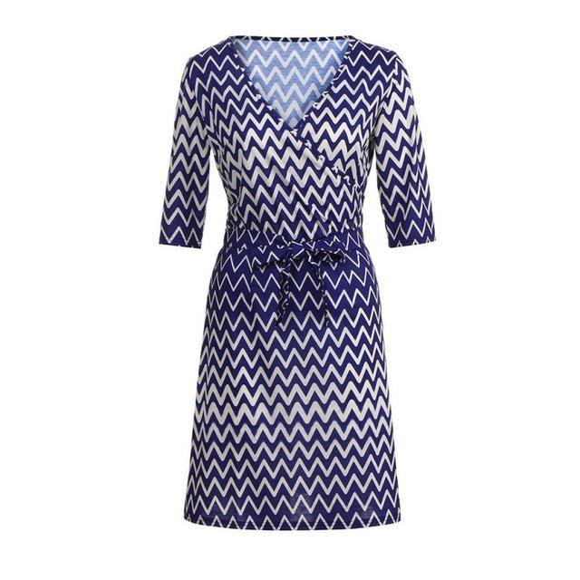 Three Quarter Boho Wave Print Dress for Ladies