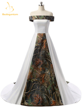 Bealegantom Sexy Strapless White and Camouflage Wedding Dresses 2017  Long Camo Bridal Gowns Vestido De Novia QA1077