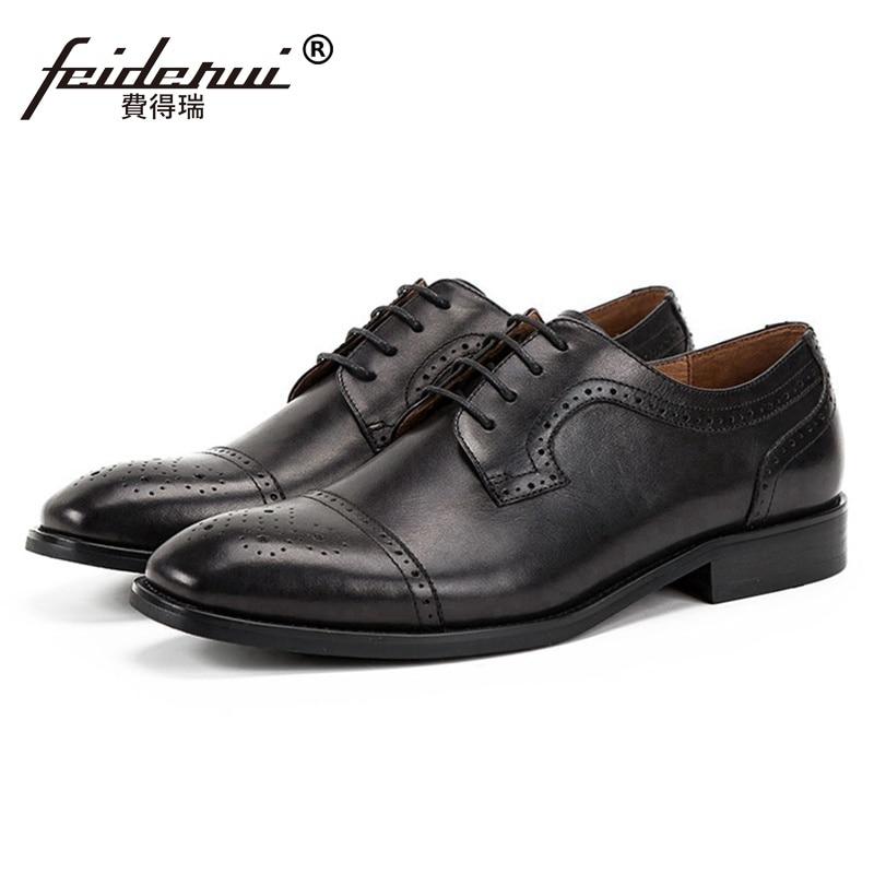 Fashion Round Toe Derby Man Genuine Leather Semi Brogue Footwear Formal Dress Men's Handmade Bridal Wedding Party Shoes SS248 цена