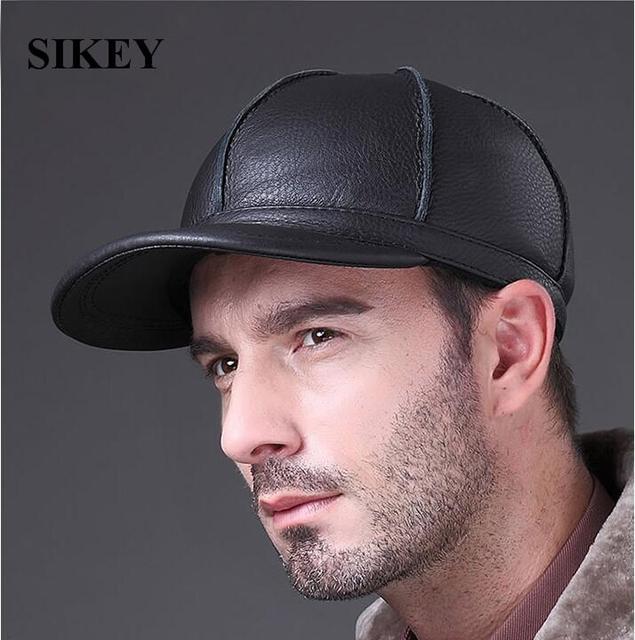 Hl028 couro genuineleather homem boné de beisebol homem do chapéu da moda ao ar livre 3 cores
