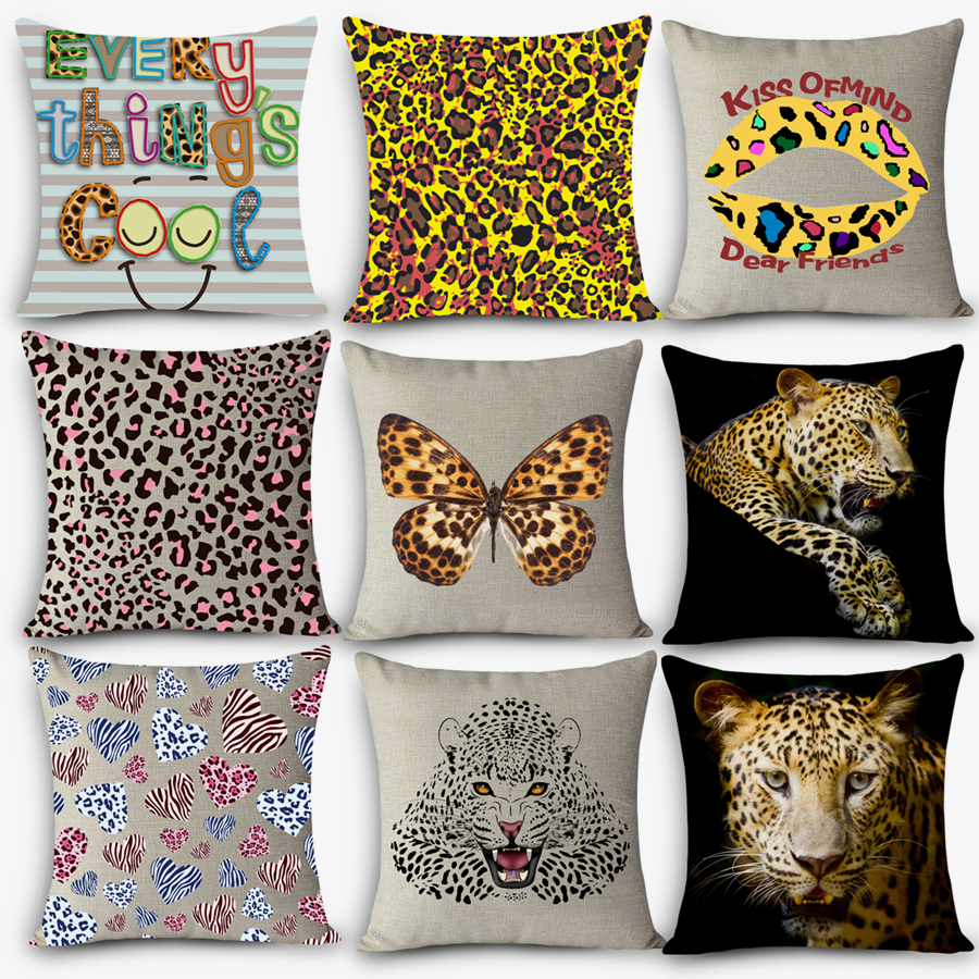 Cheap Car Seat Linen Cushion Nordic Vintage Outdoor Chair Cushions Home  Decor For Sofas HD Leopard
