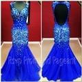 Nova Chegada Formal de Vestidos de 2017 Querida Decote Longo Backless Vestido de Noite Azul Royal Sereia Inferior