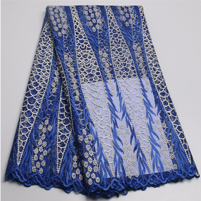 Cpb48 2 royal blue color nigerian wedding african lace for French lace fabric for wedding dresses