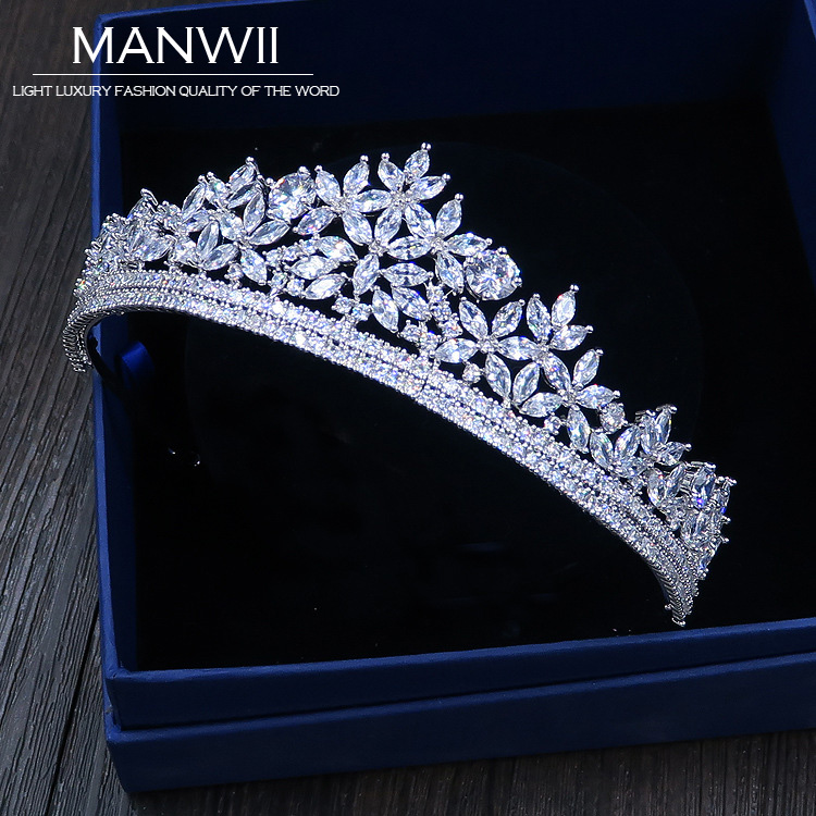 Cubic Zirconia Tiaras And Crowns Headmade Bride Wedding Hair Accessories For Women Princess Trendy Jewelry HA20001 red gorgeous ancient chinese wedding hair tiaras for bride and groom or no 1 scholar officer hat
