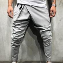 Мужские Длинные повседневные нестандартные штаны, стройные брюки для спортзала, Новые однотонные штаны для бега, спортивные штаны с завязками, Длинные спортивные штаны 8J0867