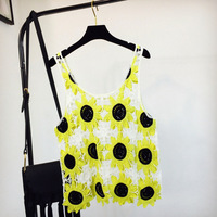 Sexy Hollow Out O Neck Sunflower Lace Sleeveless Crop Tops Crochet Tank Tops 2018 Women Summer