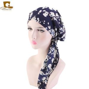 Image 2 - Müslüman Ön Tied Eşarp Kemo Kasketleri Bonnet Kapaklar Kadın Baskı Çiçek Yumuşak Türban Şapka Başörtüsü Wrap Kanser saç aksesuarları