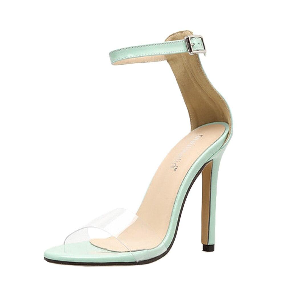 Mince talons hauts cheville boucle femmes pompe dame chaussures de mariage femme Sapato gelée clair Chaussure mariée Sexy Zapatos Mujer