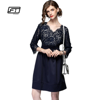 Fitaylor 2018 New 5XL Plus Size Dresses Women Lace Dress Lantern Sleeve Casual Lace Middle Length