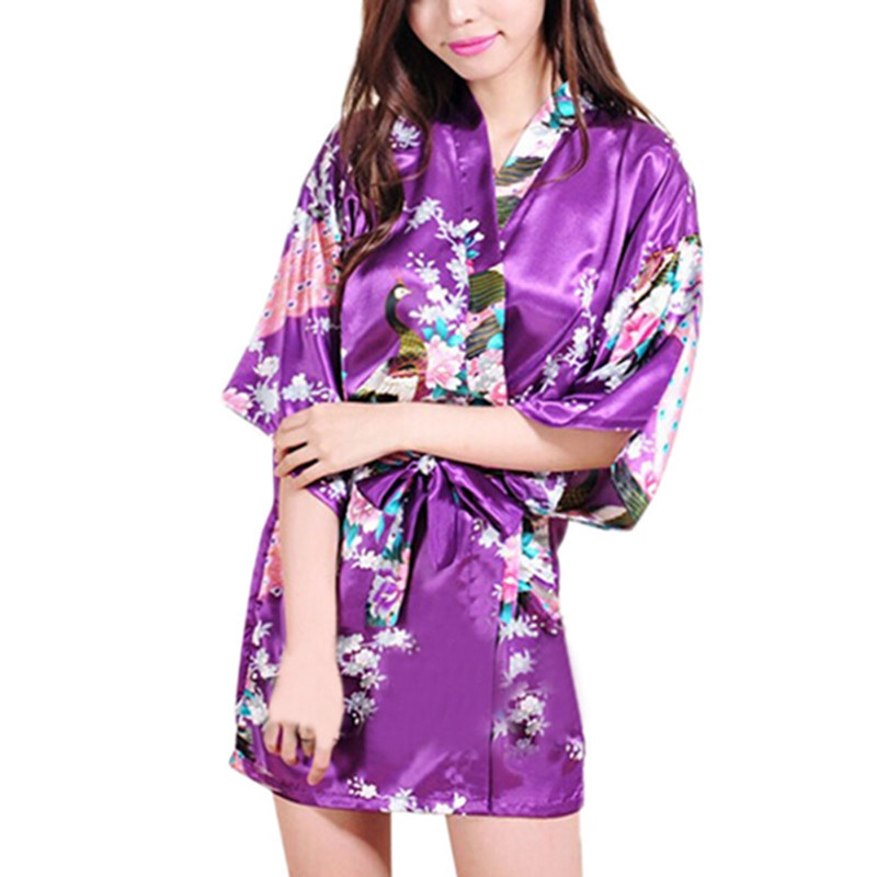 RB008 2015 Short Style Woman Peacock Printed Silk Kimono Robes ,Wedding Party Bridesmaid Robe