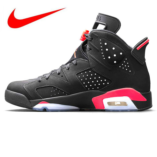 super popular d308d 694c1 Nike Air Jordan 6 Black Infrared AJ6 Men Basketball Shoes, Shock Absorption  Anti-Slip Support Balance, Black   Red 384664 023