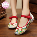 Dragon Old Beijing Embroidered Women Shoes Mary Jane Flat Heel Denim Chinese Style Casual Cloth Plus Size Shoes Woman