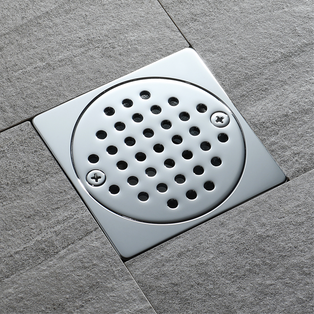 shower floor square round shape drain finish item bathroom free grate shipping chrome cover