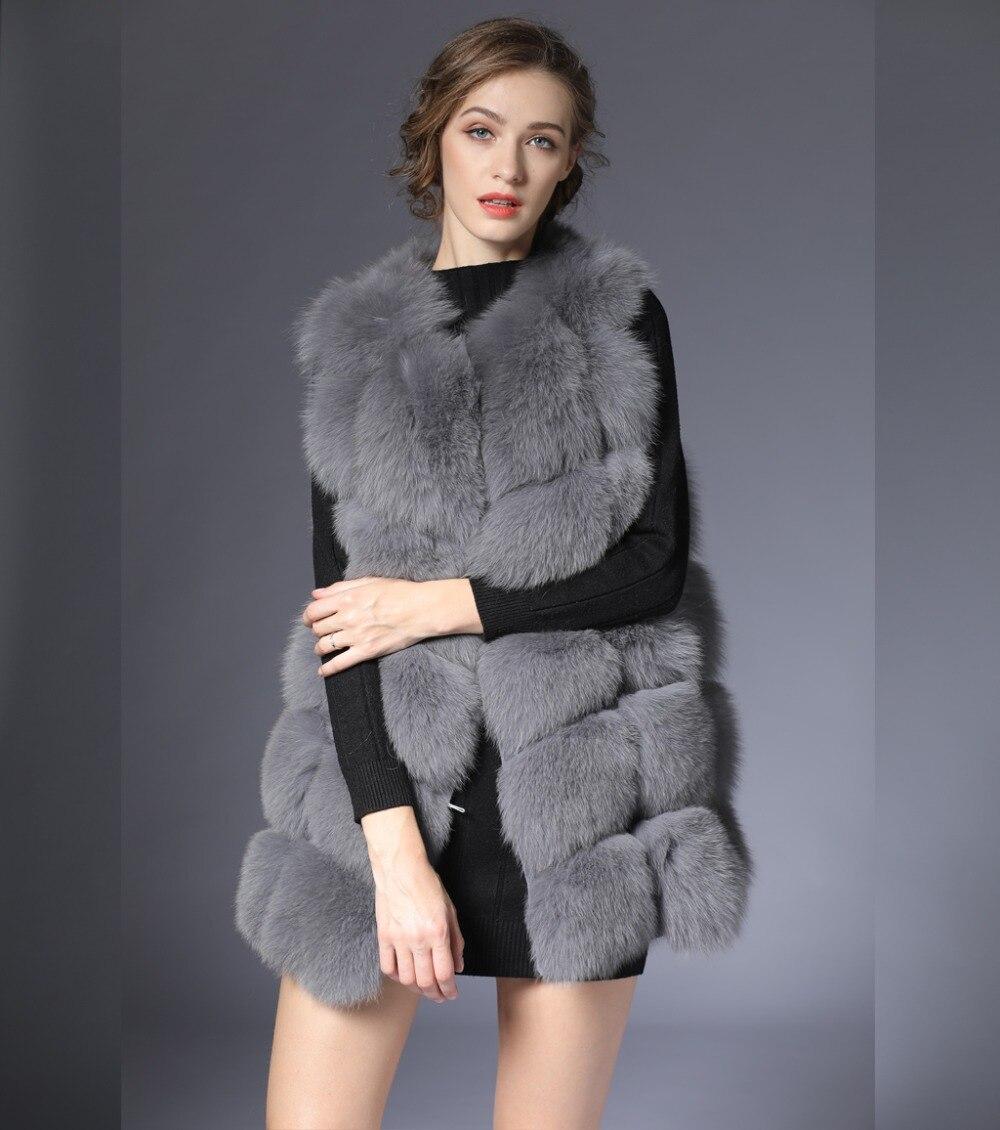 Новый натуральный мех жилет Для женщин зима черный серый Фокс жилет натуральный жилет 70 см натуральной меховой жилет для женские короткие ...