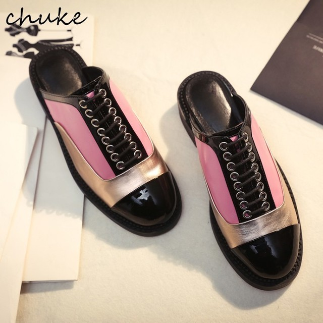 New Fashion Patchwork Slippers Shoes Lace Up Patent Leather