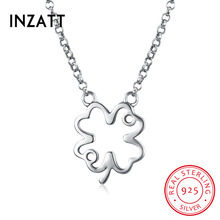 INZATT Trendy 925 Sterling Silver Clover Pendant Necklace Women Leaf Jewelry Friend Mother Birthday Party Gift Drop Shipping