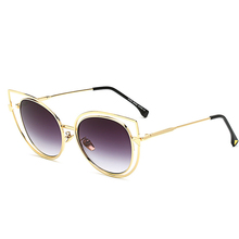 JUANBO 2017 New Cat Eye Sunglasses Women Brand Designer Fashion  Mirror Cateye Sun Glasses For Female  Vintage Gold Frame Glass