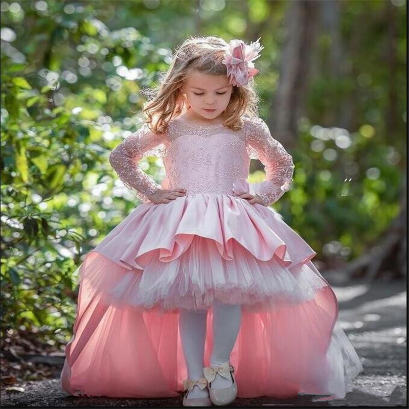 7e29d39330f New High Low Pink Cute Flower Girls Dresses For Wedding with Bow Satin Ball  Gowns For Birthday Party Long Sleeves Custom Made