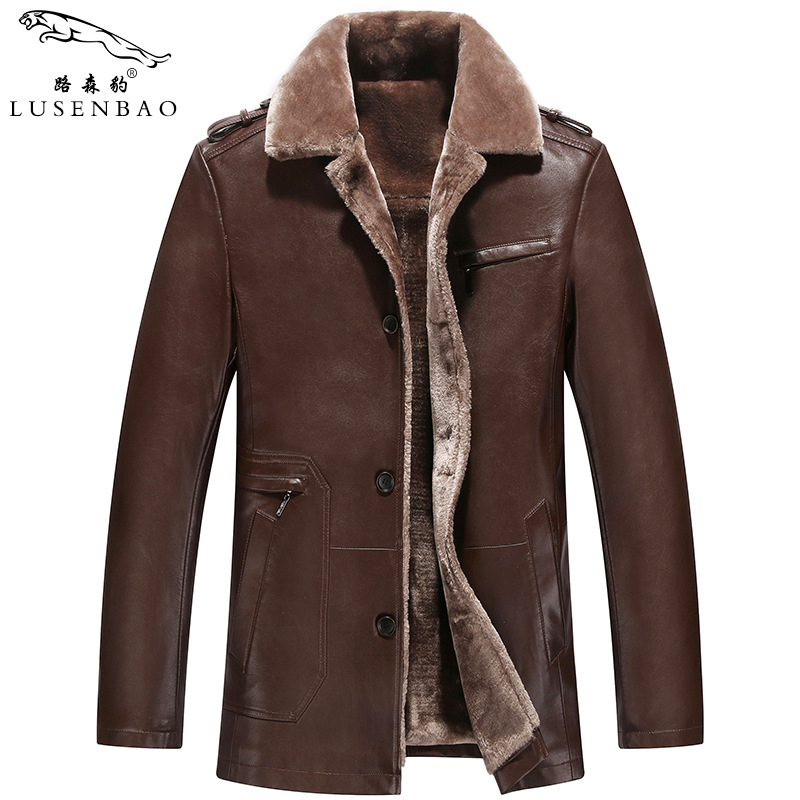 Fashion Leather Jacket Fur Collar Slim Large Size Warm Winter Jacket Men Leather Jacket Coat plus thick velvet leather jacket