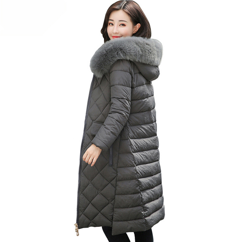 New 2017 Winter Woman Wadded Jacket Plus Size Pure Color Hooded Fur Collar Cotton Parka Long Thick Coat Padded Outerwear QH0776 big fur collar winter jacket women parka wadded jacket female outerwear thick hooded coat long cotton padded parkas plus size