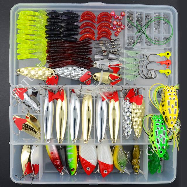Fishing Lure Kit 169 pcs/Pack Minnow Popper Crank Spinner Metal Lure Spoon Swivel Soft Bait Set Combo Tackle Accessory Box