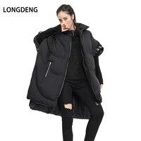LONGDENG 2019 New Winter Irregular Casual Loose Zipper Turn down Black Thicken Warm Down Vest Women Plus Size Women Clothing