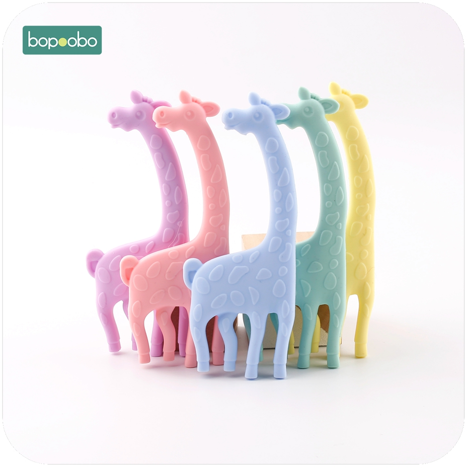 Bopoobo Silicone Giraffe Food Grade Materials 1pc Lovely Colorful Giraffe Teether Handmade DIY Pendant Baby Teether