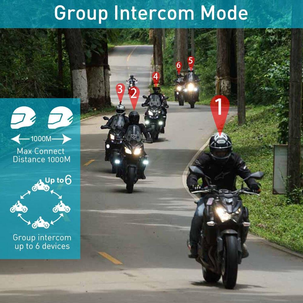 1 pc Freedconn motorcycle helmet headset 6 riders group talk bluetooth intercom T MAX 1000m FM Radio Bluetooth 4 1 Soft Mic in Helmet Headsets from Automobiles Motorcycles