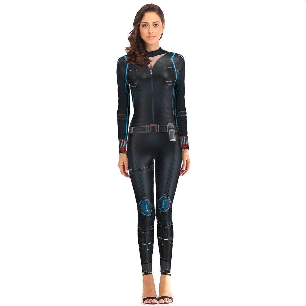 [You're My Secret] 2019 Cosplay Costume Women Avengers Marvel Carol Danvers Slim Bodysuit Black Widow Jumpsuit  Catsuit