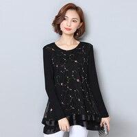 Women Blouses Shirt 2017 Fashion Chiffon Blouse Lace Flower Embroidery Shirts Long Sleeve Tops Loose Ladies