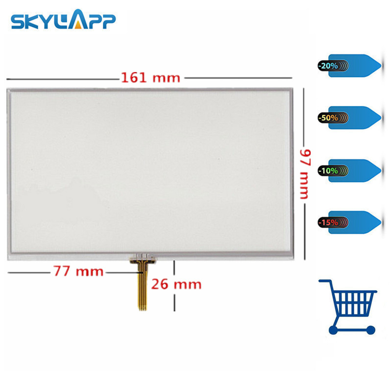 Skylarpu 2pcs 7 Inch 4 Wire Weld Resistive Touch Screen For 161mm*97mm GPS Navigator Digitizer Panel Free Shipping