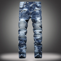 New Arrival Brand Mens Snow Designer Fashion Slim Skinny Biker Casual Straight Motorcycle Jeans High Quality