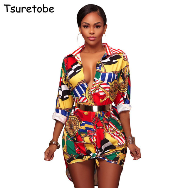 Tsuretobe New Fashion Women Print Shirt Dresses Autumn Long Sleeve Casual  Elegant Dress Female Club Party Mini Dress Vestidos 6f896022ca66