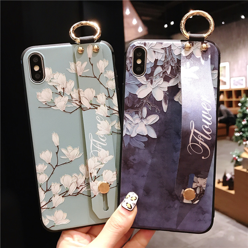 For Samsung Galaxy Note9 Wrist Strap Phone <font><b>Cases</b></font> for note9 <font><b>case</b></font> galaxy Flower Pattern TPU Back Cover For Galaxy <font><b>Note</b></font> <font><b>9</b></font> <font><b>With</b></font> <font><b>Ring</b></font> image